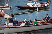 Henley on Thames, England, United Kingdom, Friday, 05.07.19, Umpire, Guin BATTEN, with Flag, in Umpire Launch, Henley Royal Regatta,  Henley Reach, [©Karon PHILLIPS/Intersport Images]<br /> <br /> 15:24:30 1919 - 2019, Royal Henley Peace Regatta Centenary,