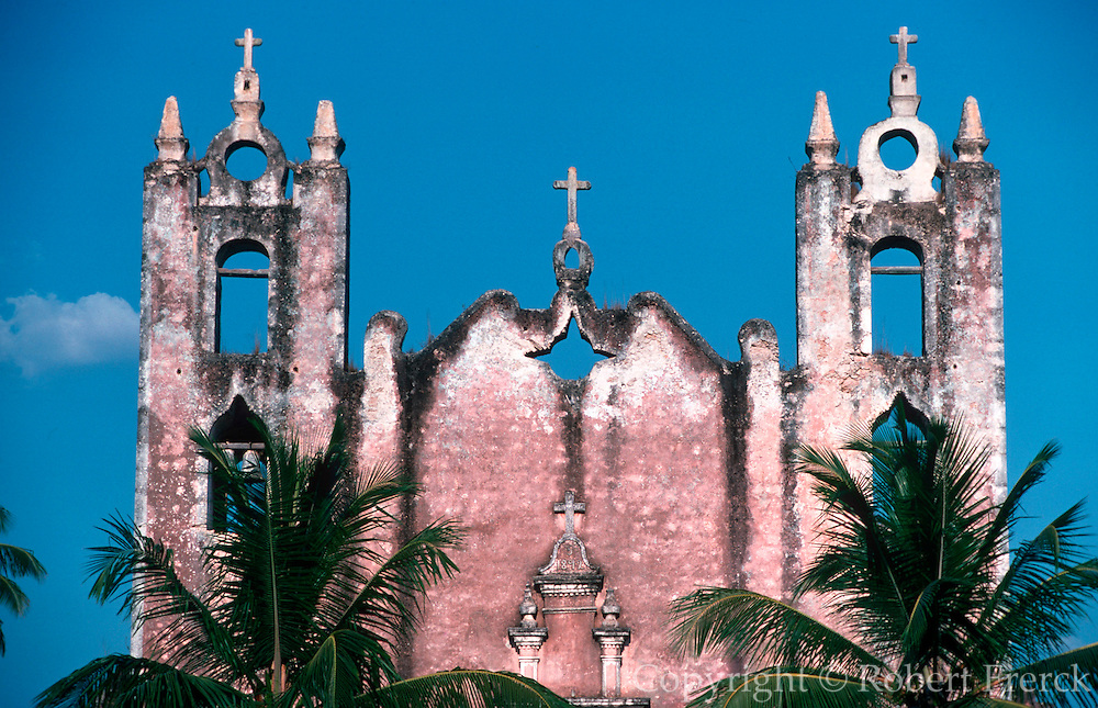 MEXICO, ARCHITECTURE Colonial church in the Yucatan