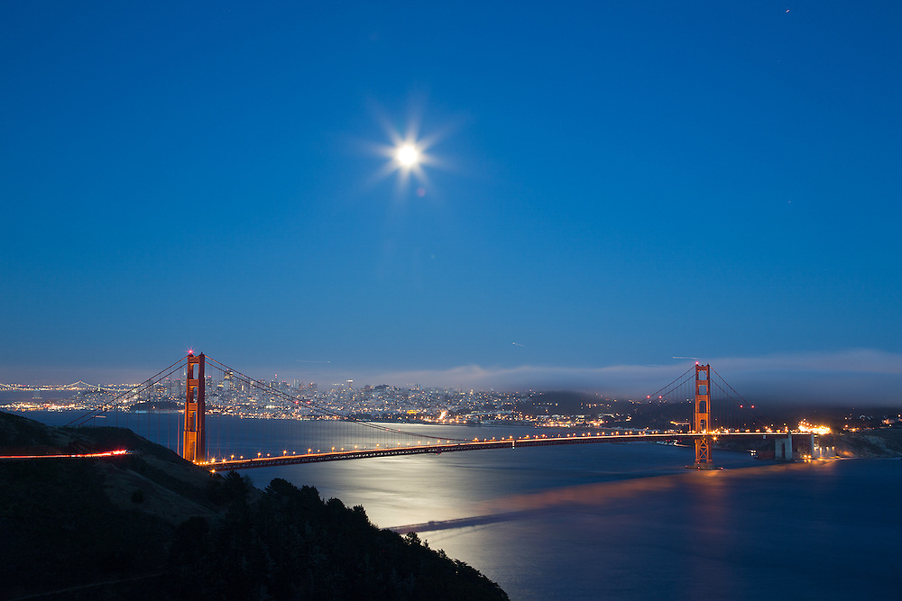 The supermoon rises over San Francisco,CA