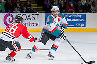 KELOWNA, CANADA - APRIL 25: Damon Severson #7 of the Kelowna Rockets skates with the puck against the Portland Winterhawks on April 25, 2014 during Game 5 of the third round of WHL Playoffs at Prospera Place in Kelowna, British Columbia, Canada. The Portland Winterhawks won 7 - 3 and took the Western Conference Championship for the fourth year in a row earning them a place in the WHL final.  (Photo by Marissa Baecker/Getty Images)  *** Local Caption *** Damon Severson;