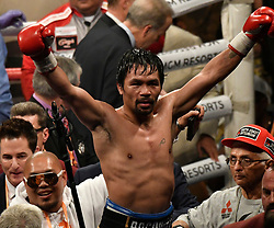 January 19,2019 - Las Vegas Nevada, U.S. - MANNY PACQUIAO waves to his fans as he takes the win after going 12 rounds with Adrien Broner at the MGM grand Hotel Saturday. Pacquiao  took the win by unanimous decision for the World Welterweight Championship. (Credit Image: © Gene Blevins/ZUMA Wire)