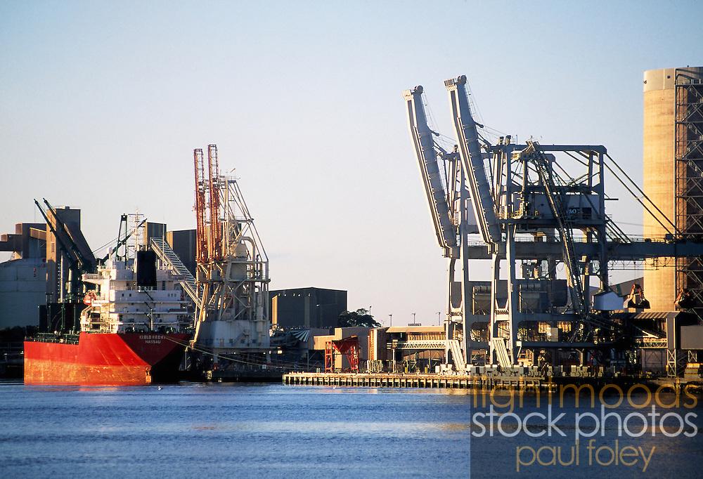 Ship at berth Newcastle Harbour, NSW, Australia