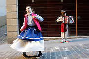 Dancing and playing the accordion in the streets of Getaria.