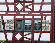 Stein am Rhein has a well-preserved medieval center with half-timbered framing in Schaffhausen Canton, Switzerland, Europe.