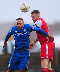 EGHAMS REECE YORKE HOLDS OF AFC DUNSTABLE NATHAN FRATER, AFC Dunstable v Egham Town, Evo Stik South East League Creasey Park Saturday 18th November 2017 Score 6-1, Photo:Mike Capps.