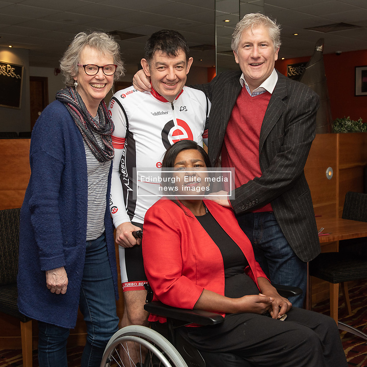 A Charity Bike Ride is linking the two Portobellos in Edinburgh and London this weekend. A former Edinburgh Portobello resident Gordon Barclay will set off tomorrow (Sunday 24th) to cycle to London. The ride will raise funds for Clarrie Mendy, who tragically lost 2 relatives in the Grenfell Tower Disaster and has now been diagnosed with Motor Neurone Disease, and for Doddie Weir's MY NAME5 DODDIE foundation. Pictured: Maureen Child, (Portobello, Edinburgh councillor), Gordon Barclay, Clarrie Mendy, Ian Henderson (Portobello, London councillor)<br /> <br /> <br /> © Jon Davey/ EEm