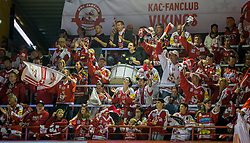 02.10.2015, Stadthalle, Klagenfurt, AUT, EBEL, EC KAC vs HC TWK Innsbruck Die Haie, im Bild der Fan sektor des KAC // during the Erste Bank Eishockey League match betweeen EC KAC and HC TWK Innsbruck Die Haie at the City Hall in Klagenfurt, Austria on 2015/190/02. EXPA Pictures © 2015, PhotoCredit: EXPA/ Gert Steinthaler