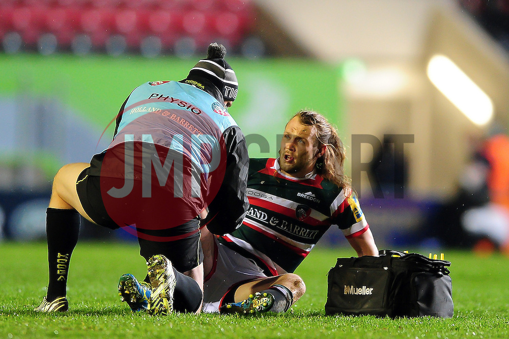Sam Harrison of Leicester Tigers is treated for an injury - Mandatory byline: Patrick Khachfe/JMP - 07966 386802 - 03/03/2017 - RUGBY UNION - Welford Road - Leicester, England - Leicester Tigers v Exeter Chiefs - Aviva Premiership.