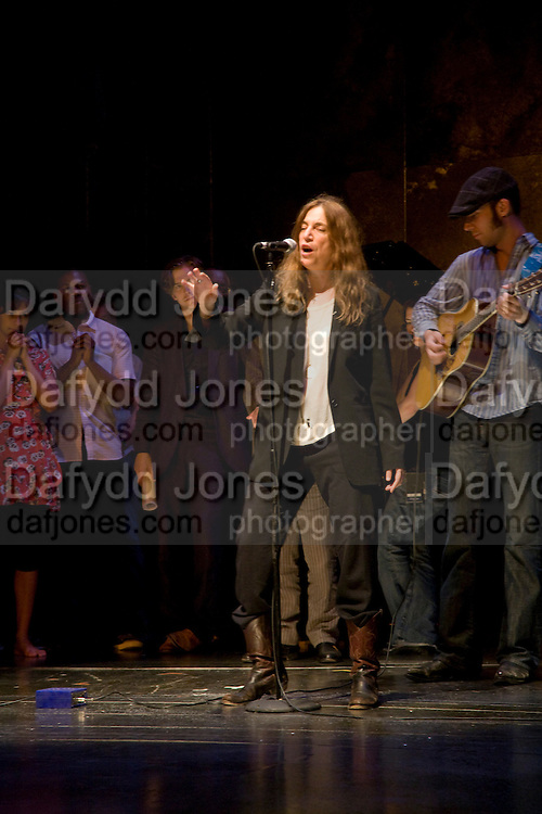 PATTI SMITH AND HER SON JACKSON SMITH ON GUITAR ,  'Cries from the Heart' presented by Human Rights Watch at the Theatre Royal Haymarket. London. Party afterwards at the Haymarket Hotel. June 8, 2008 *** Local Caption *** -DO NOT ARCHIVE-© Copyright Photograph by Dafydd Jones. 248 Clapham Rd. London SW9 0PZ. Tel 0207 820 0771. www.dafjones.com.