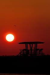 Sun Sets Behind Observation Platform, Merritt Island National Wildlife Refuge, Titusville, Florida, US