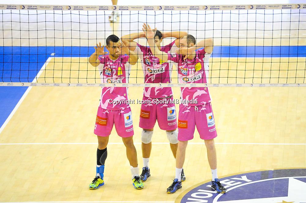 Toafa Takaniko / Keith Pupart / Senger Tommy - 20.12.2014 - Paris Volley / Sete - 12eme journee de Ligue A<br /> Photo : Andre Ferreira / Icon Sport