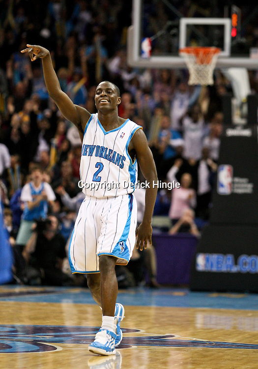 Feb 26, 2010; New Orleans, LA, USA; New Orleans Hornets guard Darren Collison (2) celebrates following a three pointer during the fourth quarter at the New Orleans Arena. The Hornets defeated the Magic 100-93. Mandatory Credit: Derick E. Hingle-US PRESSWIRE