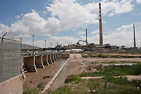 Diversion dam on Rio Grande at El Paso, TX sends river into border and irrigation canals.