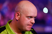 Michael van Gerwen doing a post-match interview during the World Darts Championships 2018 at Alexandra Palace, London, United Kingdom on 29 December 2018.