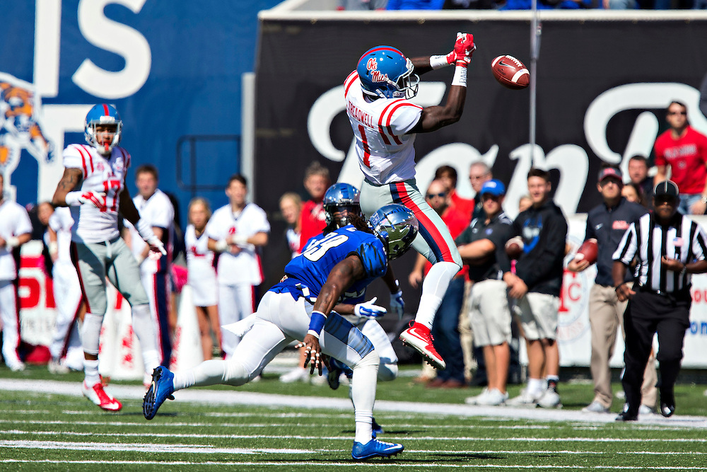 MEMPHIS, TN - OCTOBER 17:  Laquon Treadwell #1 of the Ole Miss Rebels misses a pass in front of Reggis Ball #39 of the Memphis Tigers at Liberty Bowl Memorial Stadium on October 17, 2015 in Memphis, Tennessee.  The Tigers defeated the Rebels 37-24.  (Photo by Wesley Hitt/Getty Images) *** Local Caption *** Laquon Treadwell; Reggis Ball