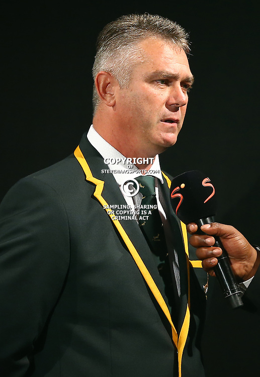 DURBAN, SOUTH AFRICA - AUGUST 28: Heyneke Meyer (Head Coach) of South Africa during the South African national rugby team World Cup Squad announcement at Beverly Hills Hotel on August 28, 2015 in Durban, South Africa. (Photo by Steve Haag/Gallo Images)