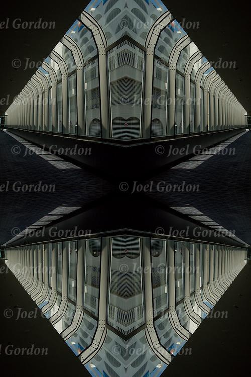 Walkway between two building creating a visual vanishing point