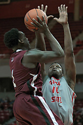 05 January 2014:  Jalen Pendleton and John Jones during an NCAA  mens basketball game between the Salukis of Southern Illinois and the Illinois State Redbirds  in Redbird Arena, Normal IL.  Final score ISU 66, SIU 48