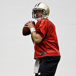 July 26, 2012; Metairie, LA, USA; New Orleans Saints quarterback Drew Brees (9) during the first day of of training camp at the team's indoor practice facility. Mandatory Credit: Derick E. Hingle-US PRESSWIRE
