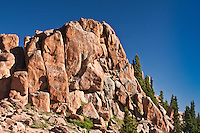 "This large boulder field of Pikes Peak granite is the beginning of the ""W's"", a series of steep switchbacks along the Pikes Highway.  Colorado."