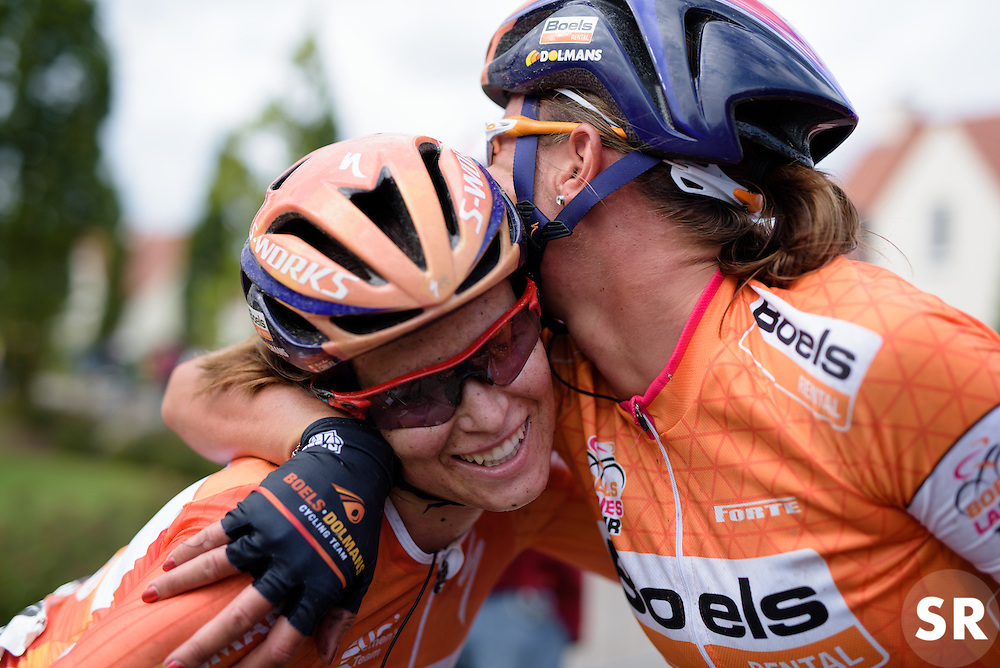 Chantal Blaak celebrates winning the GC with teammate, Karol-Ann Canuel at the 119 km Stage 6 of the Boels Ladies Tour 2016 on 4th September 2016 from Bunde to Valkenburg, Netherlands. (Photo by Sean Robinson/Velofocus).