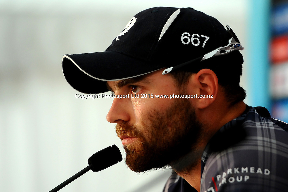 Preston Mommsen from Scotland talks to the media during the 2015 ICC Cricket World Cup match between Bangladesh v Scotland. Saxton Oval, Nelson, New Zealand. Thursday 5 March 2015. Copyright Photo: Chris Symes / www.photosport.co.nz
