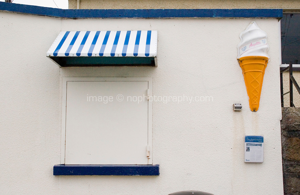 Closed ice cream shop on the West Pier in Dun Laoghaire Dublin Ireland