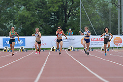 05/08/2017; Oliveira, Suelen, T37, BRA, Leikis, Libby, NZL, Yoshikawa, Kotomi, JPN, Carr, Amy, GBR, Seol, Hyunjeong, KOR at 2017 World Para Athletics Junior Championships, Nottwil, Switzerland