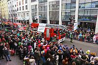 Ludwigshafen. 11.02.18 | <br /> 66. Traditioneller Fasnachtsumzug Mannheim-Ludwigshafen. Diesmal in Ludwigshafen.<br /> - Berufsfeuerwehr Ludwigshafen. 100 Jahre BF LU mit Handl&ouml;schkarre, Drehleiter, Firepocket, Fu&szlig;gruppe<br /> Bild: Markus Prosswitz 11FEB18 / masterpress (Bild ist honorarpflichtig - No Model Release!) <br /> BILD- ID 04366 |