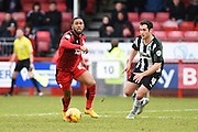 Crawley Town Forward Gavin Tomlin and Plymouth defender Carl McHugh during the Sky Bet League 2 match between Crawley Town and Plymouth Argyle at the Checkatrade.com Stadium, Crawley, England on 20 February 2016. Photo by David Charbit.
