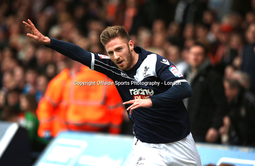 16 February 2013 FA Cup 5th round. Luton Town v Millwall.<br /> James Henry celebrates after scoring the first goal for Millwall.<br /> Photo: Mark Leech