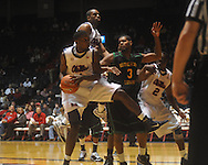 """Ole Miss forward Terrance Henry (1) rebounds against Southeastern Louisiana's Jason Marks (3) at the C.M. """"Tad"""" Smith Coliseum in Oxford, Miss. on Sunday, January 2, 2011. Mississippi won 68-59. (AP Photo/Oxford Eagle, Bruce Newman)"""