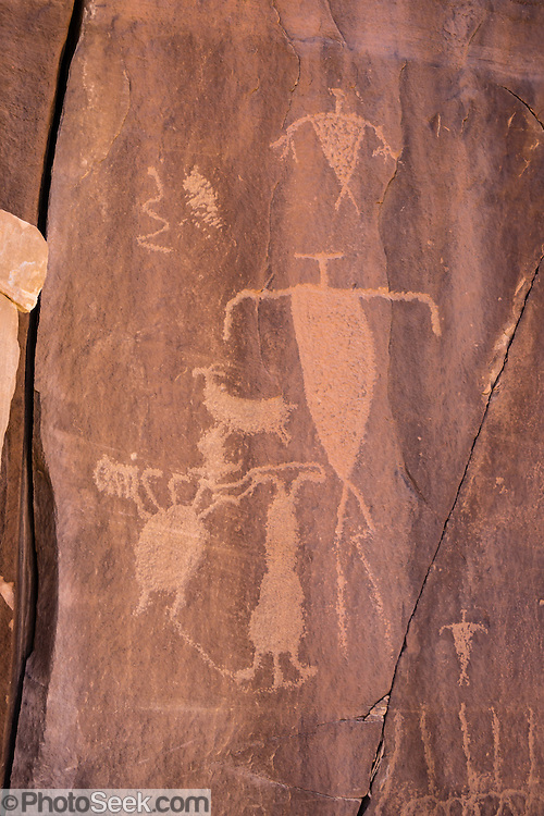 Petroglyphs in Shay Canyon on public BLM land, near Monticello, Utah, USA.