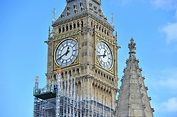 © Licensed to London News Pictures. 30/09/2017. London, UK. Scaffolding covers the Elizabeth Tower, home of Big Ben, as remedial work continues.  A new statement released by Parliament states that the cost of renovations has more than doubled to £61m as contractors have found the work to be more complex and extensive compared to the 2016 estimate of £29m.  Photo credit : Stephen Chung/LNP