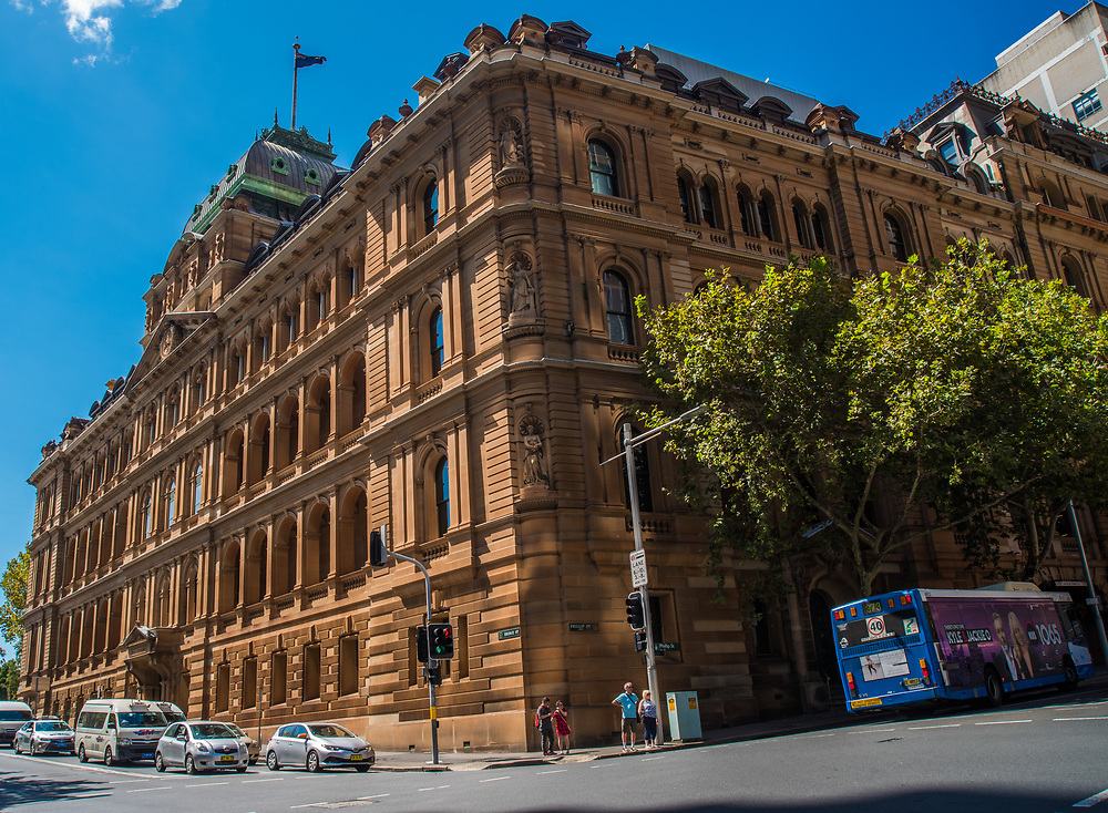 Sydney, Australia -- February 17, 2018. The Chief Secretary's House on the corner of Bridge and Phillip streets on a Saturday afternoon in summer. Editorial use only.