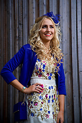 LIVERPOOL, ENGLAND - Thursday, April 6, 2017: Chloe Kelly, 18 from Warrington, wearing a dress from Asos, during The Opening Day on Day One of the Aintree Grand National Festival 2017 at Aintree Racecourse. (Pic by David Rawcliffe/Propaganda)