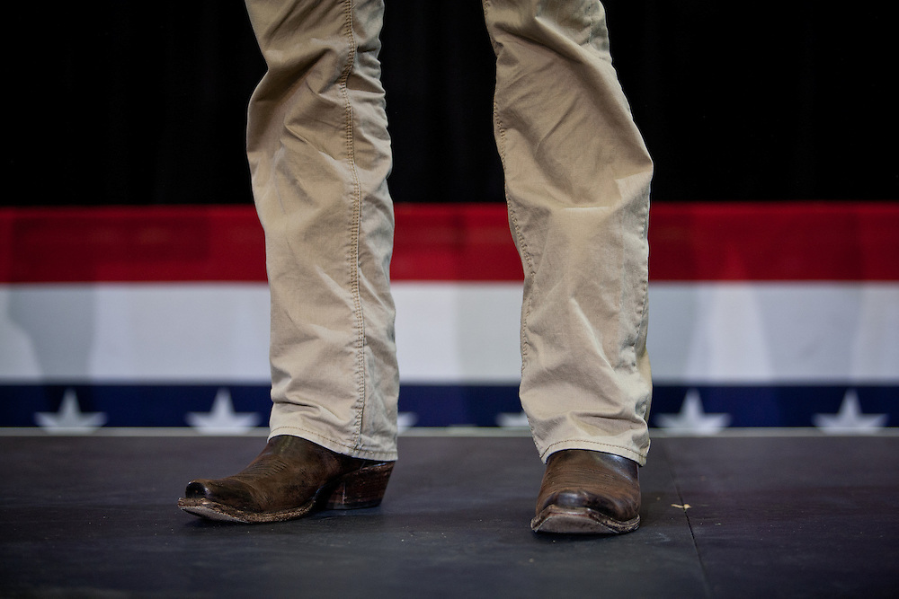 Republican vice presidential nominee Rep. Paul Ryan wears cowboy boots during a campaign rally at Kirkwood Community College in Cedar Rapids, Iowa, September 4, 2012.