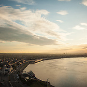 Mississippi River at dawn as seen from the Westin Hotel in the French Quarter.
