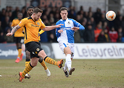 Billy Bodin of Bristol Rovers closes down Josh Laurent of Newport County - Mandatory byline: Alex James/JMP - 19/03/2016 - FOOTBALL - Rodney Parade - Newport, England - Newport County v Bristol Rovers - Sky Bet League Two