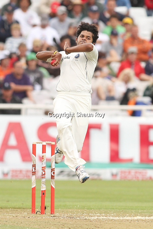 CAPE TOWN, SOUTH AFRICA - 2 January 2011, Sree Sreesanth of India in delivery stride during day 1 of the 3rd Castle Test between South Africa and India held at Sahara Park Newlands Stadium in Cape Town, South Africa on the 2 January 2011 .Photo by: Shaun Roy