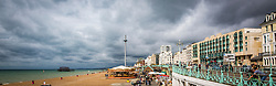 10/09/2017. Brighton, UK. Dark clouds hang over Brighton and Hove beach. Photo credit: Hugo Michiels
