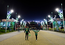 Fans arrive early for tonight's Scottish Premiership match at Celtic Park, Glasgow.