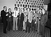 French Visitors at Guinness   (N60)..1981..06.02.1981..02.06.1981..6th February 1981..Today a group of French visitors from Kronenbourg Brewery,Strasbourg visited the Guinness Brewer, st James Gate, Dublin. The visit was part of an incentive scheme between the two breweries..Image shows the french visitors sampling the brew at the Guinness visitors bar in Dublin.