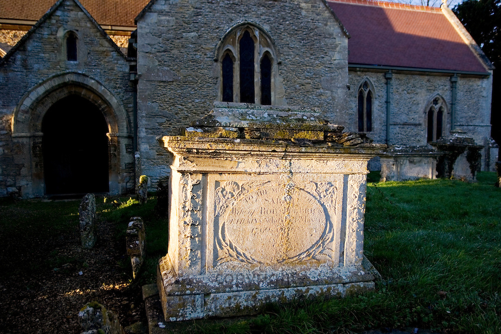 Ancient tomb in St Peter and St Paul Churchyard, Broadwell, The Cotswolds, Oxfordshire, UK