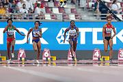 Lorene Dorcas Bazolo (Portugal), English Gardner (USA), Dina Asher-Smith (Great Britain), Salome Kora (Switzerland), 100 Metres Women, Round 1 Heat 4, during the 2019 IAAF World Athletics Championships at Khalifa International Stadium, Doha, Qatar on 28 September 2019.