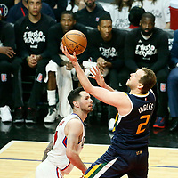 15 April 2017: Utah Jazz forward Joe Ingles (2) goes for the lay up past LA Clippers guard JJ Redick (4) during the Utah Jazz 97-95 victory over the Los Angeles Clippers, during game 1 of the first round of the Western Conference playoffs, at the Staples Center, Los Angeles, California, USA.