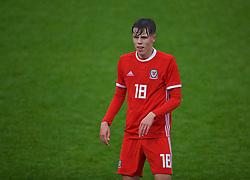 NEWPORT, WALES - Monday, October 14, 2019: Wales' Rhys Hughes during an Under-19's International Friendly match between Wales and Austria at Dragon Park. (Pic by David Rawcliffe/Propaganda)