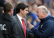 Cardiff City Assistant Manager Kevin Blackwell (right) chats with Nottingham Forest manager Aitor Karanka before the Sky Bet Championship match at the Cardiff City Stadium.