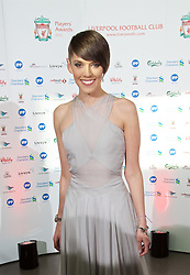 LIVERPOOL, ENGLAND - Tuesday, May 19, 2015: Liverpool TV presenter Claire Rourke arrive on the red carpet for the Liverpool FC Players' Awards Dinner 2015 at the Liverpool Arena. (Pic by David Rawcliffe/Propaganda)