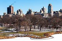 US, New York City, Central Park. View north from Belvedere Castle. Turtle Pond.